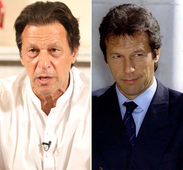 Imran Khan from 2018 (L) and 1996 (R)