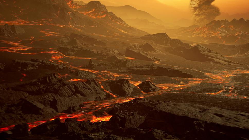 the surface of the newly discovered exoplanet called gliese 486 b a type of planet known as a hot super earth is seen in an undated artist s impression with a surface temperature of about 430 degrees celsius 800 degrees fahrenheit 700 degrees kelvin astronomers suspect that the planet has a venus like hot and dry landscape interspersed with glowing lava rivers possibly with a tenuous atmosphere photo reuters