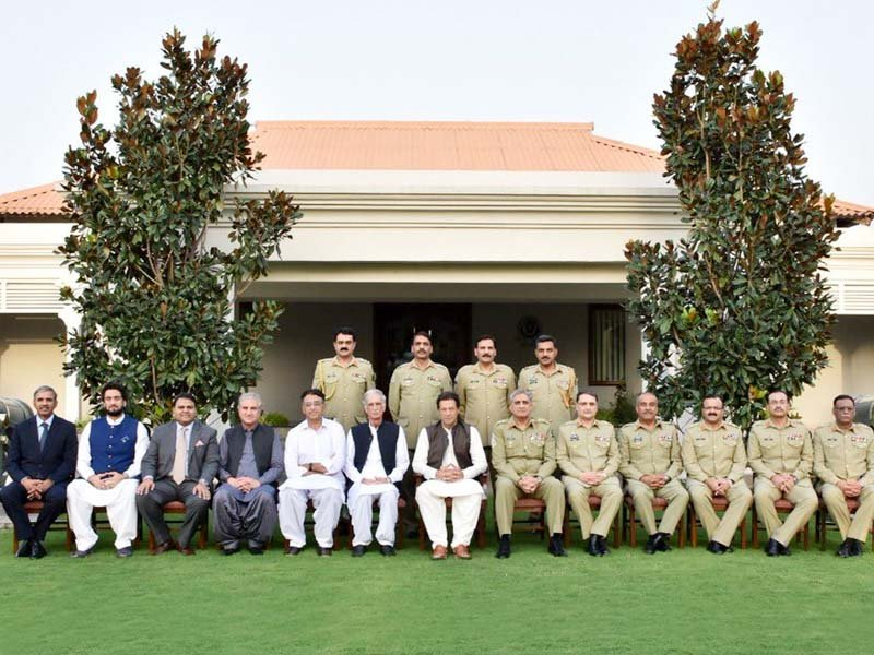 PM Imran was accompanied by Defence Minister Pervez Khattak, Foreign Minister Shah Mehmood Qureshi, Finance Minister Asad Umar, Information Minister Fawad Chaudhry and Minister of State for Interior Shaheryar Afridi. PHOTO: ISPR