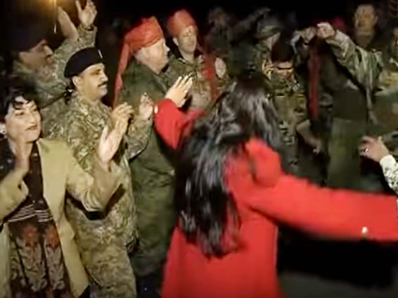 In the video, soldiers of both the armies dance together to songs in Russia. SCREENGRAB; YOUTUBE