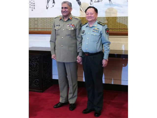 Gen Qamar meets Vice Chairman of Central Military Commission, discusses defence ties. PHOTO: ISPR
