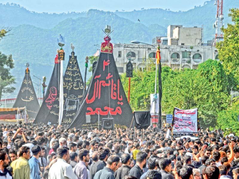 Muharram 9 procession in Sector G-6. PHOTO: ZAFAR ASLAM/ EXPRESS