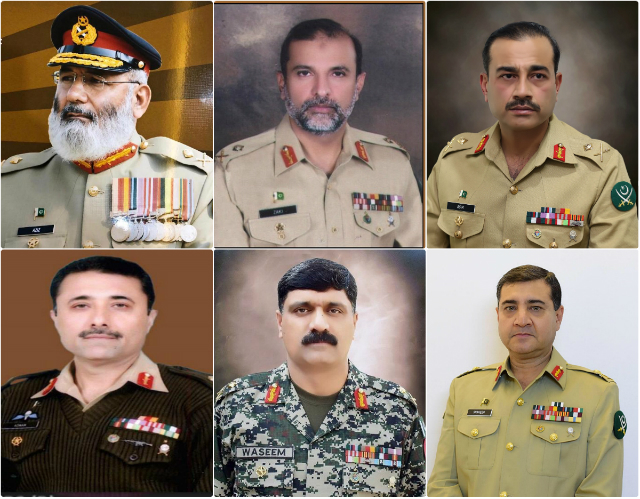 Promoted officers (from top left to bottom right) Maj-Gen Abdul Aziz, Maj-Gen Nadeem Zaki Manj, Maj-Gen Asim Munir, Maj-Gen Mohammad Adnan, Maj-Gen Waseem Ashraf and Maj-Gen Shaheen Mazhar. PHOTO: ISPR