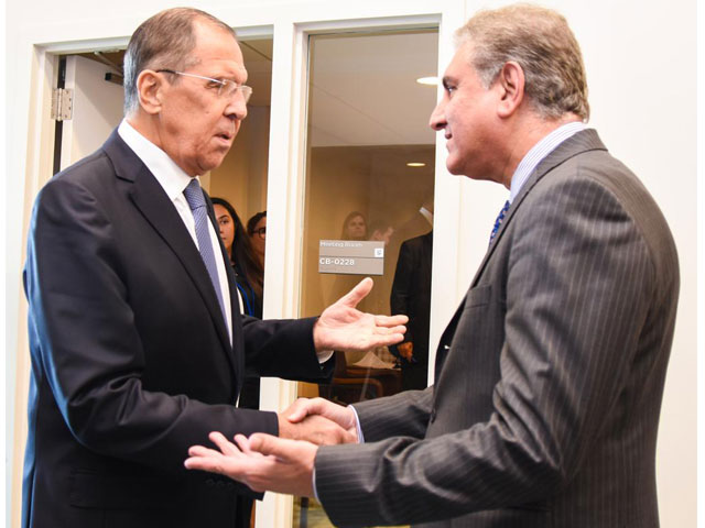 Shah Mahmood Qureshi meets Sergey Viktorovich Lavrov in New York on the sidelines of the UNGA. PHOTO: EXPRESS