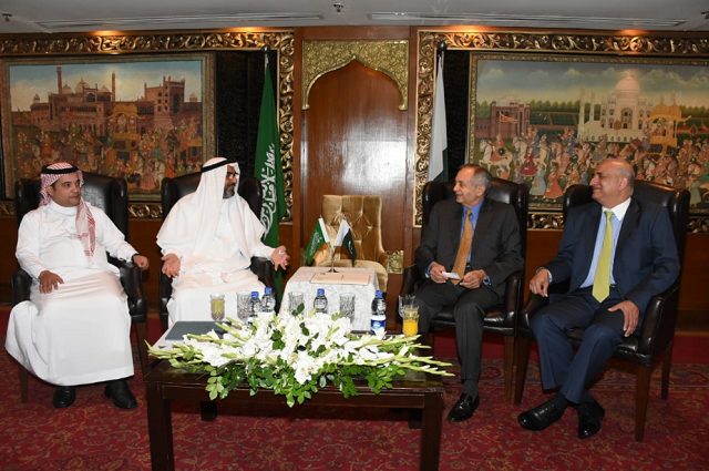 The Saudi delegation meeting Pakistani ministers in Islamabad. PHOTO:EXPRESS