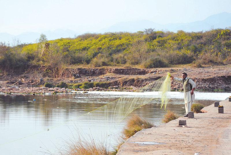 A man drops a net into the Korang River. PHOTO: HUMA CHAUDHARY/EXPRESS