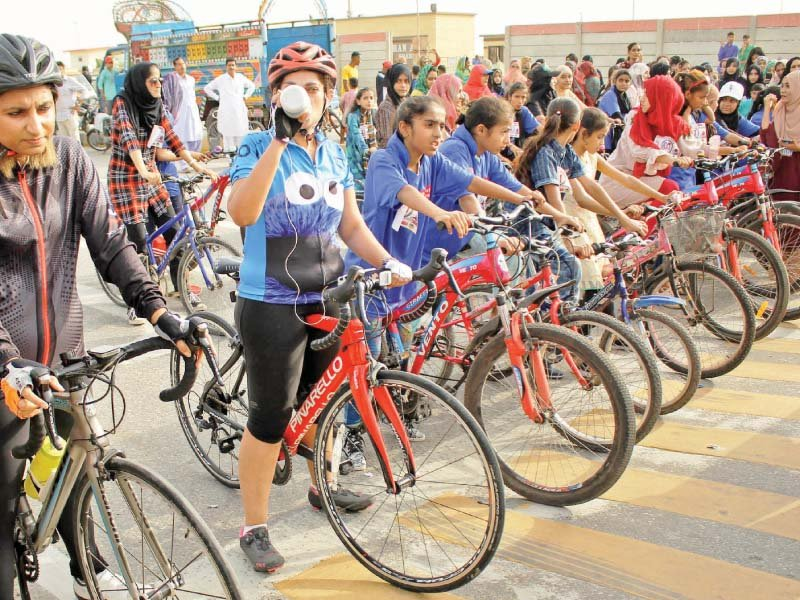 Scores of girls, aged between 10 and 25 years, participated in a cycle race at Sea View to commemorate the International Day of the Girl Child. PHOTOS: ATHAR KHAN/EXPRESS
