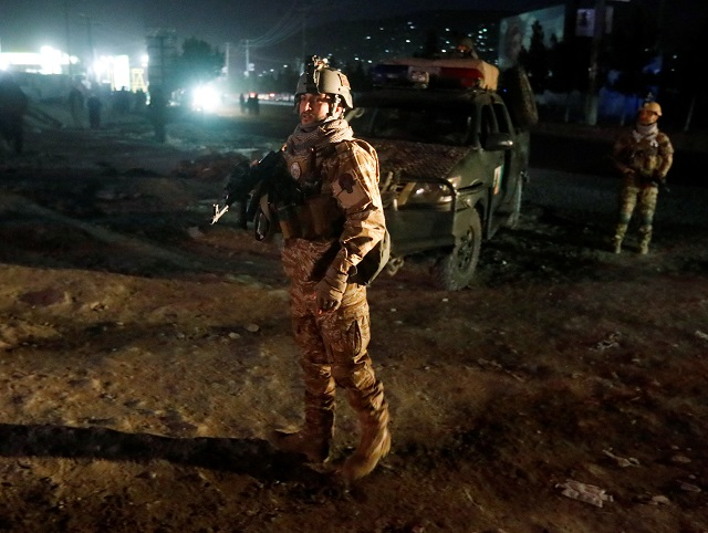 Afghan security forces arrive at the site of a suicide attack in Kabul, Afghanistan October 20, 2018. PHOTO: REUTERS