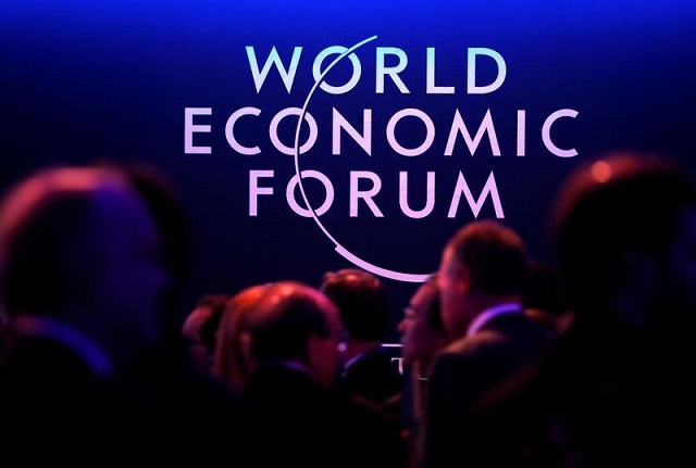 A logo of the World Economic Forum (WEF) is seen as people attend the WEF annual meeting in Davos, Switzerland January 24, 2018. PHOTO: REUTERS