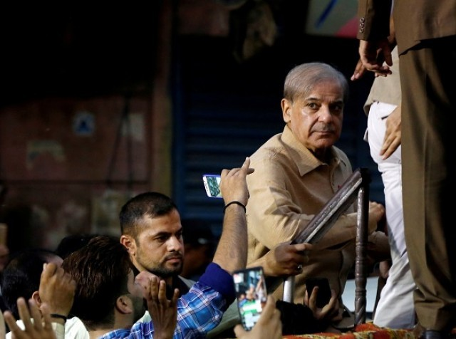 Shehbaz Sharif at a campaign rally in Lyari, Karachi on June 26, 2018. PHOTO:AFP