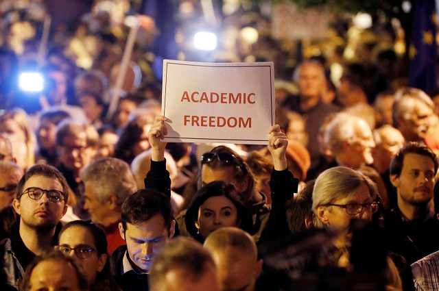 thousands rally to keep soros founded university in hungary