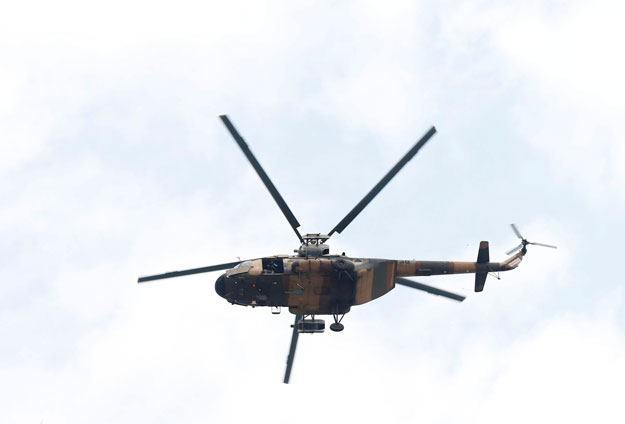 File photo of an Afghan military helicopter. PHOTO: REUTERS