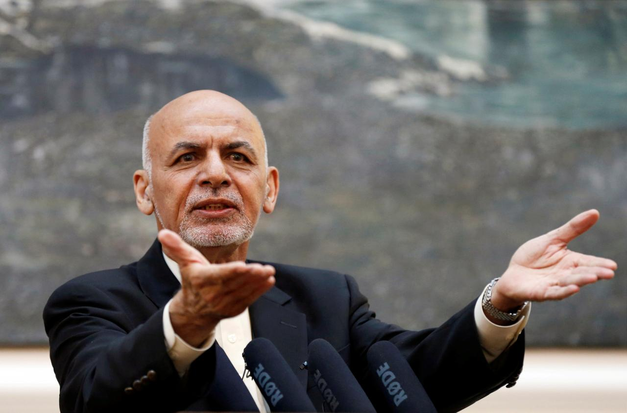 Afghan President Ashraf Ghani speaks during a news conference in Kabul, Afghanistan July 15, 2018. PHOTO REUTERS