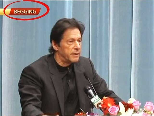 Imran is on an official trip, where he was addressing a ceremony at a central party school in Beijing which was shown by the national broadcaster. SCREENGRAB: PTV