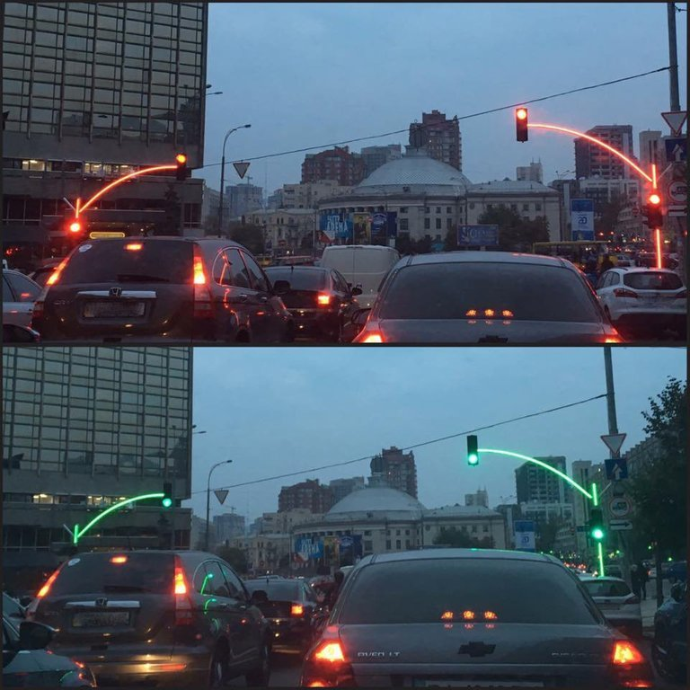 led traffic signals light up european town