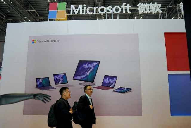 A Microsoft sign is seen during the China International Import Expo (CIIE), at the National Exhibition and Convention Center in Shanghai, China November 5, 2018. PHOTO: REUTERS