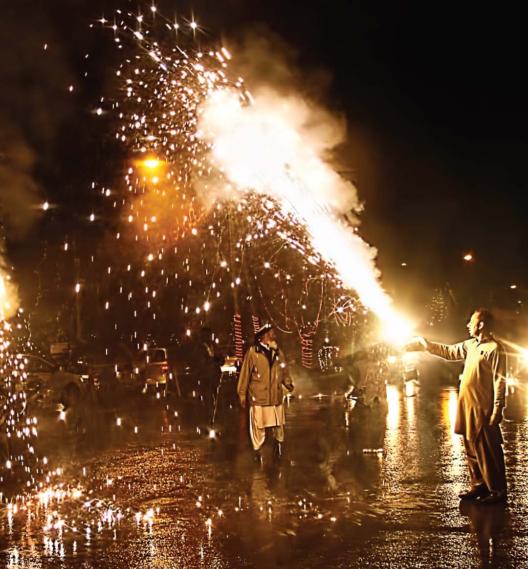 Fireworks being set off on the eve of Rabiul Awwal 12. PHOTOS: EXPRESS/ABID NAWAZ