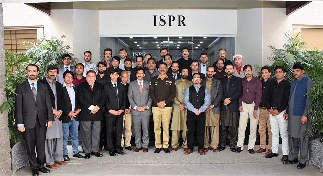 Delegation of journalists from G-B, AJK and Hazara Division meeting DF ISPR in Rawalpindi. PHOTO: ISPR