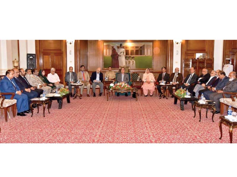 Sindh governor Imran Ismail meets with Senator Rukhsana Zuberi and vice chancellors of the province's 25 universities at the Governor's House. PHOTO: PRESS RELEASE
