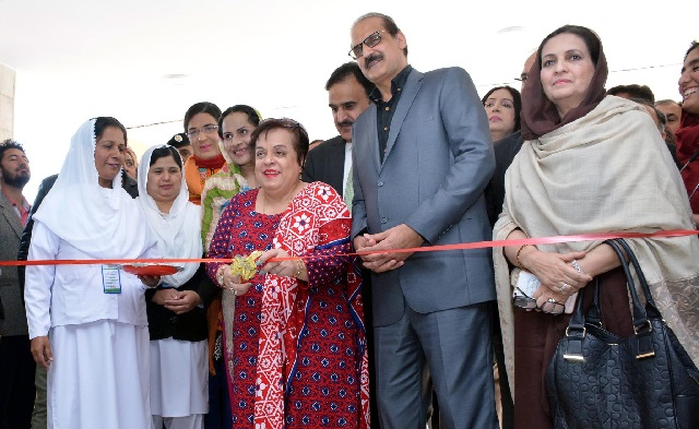 Federal Minister for National Health Services, Regulation and Coordination Aamer Mehmood Kiani and Federal Minister for Human Rights Dr Shireen M Mazari inaugurating the private public ward at PIMS, Islamabad on December, 1 2018. PHOTO: APP
