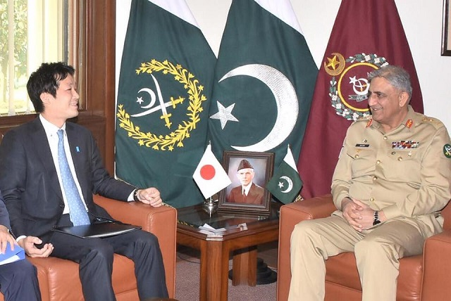 national security advisor to the prime minister of japan kentaro sonoura lent his support to islamabad wanting to see political reconciliation in afghanistan in a meeting with army chief gen qamar javed bajwa photo ispr