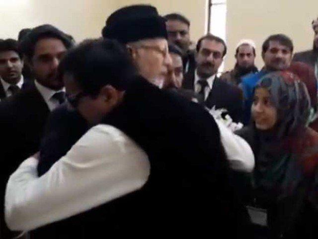 model town vandal gullu butt hugs tahirul qadri in sc premises