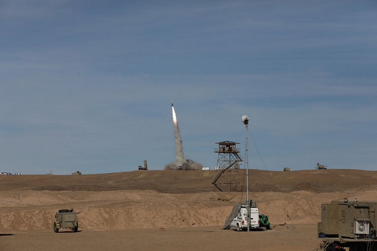 """A handout picture made available by the Iranian Army office reportedly shows a Sayad missile fired from the Talash missile system during an air defence drill at an undisclosed location in Iran on November 5, 2018 . - Rouhani said the Islamic republic """"will proudly bypass sanctions"""" by the United States that took effect today targeting the country's oil and financial sectors. PHOTO: AFP"""