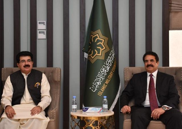 Senate Chairman Sadiq Sanjrani briefed by Gen (retd) Raheel Sharif on IMCTC in Saudi Arabia. PHOTO: EXPRESS