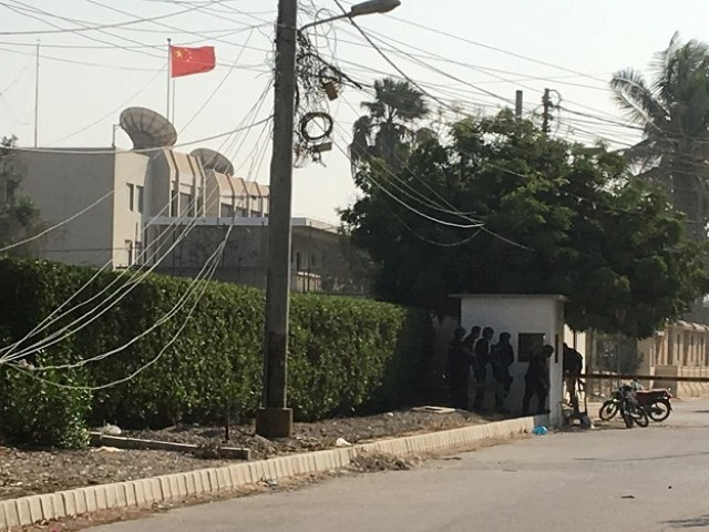 Chinese consulate in Karachi. PHOTO: AFP