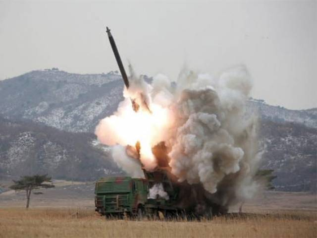 a new multiple launch rocket system is test fired in this undated photo released by north korea 039 s korean central news agency kcna in pyongyang march 4 2016 photo reuters