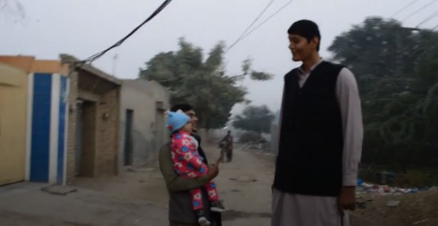 At just 23, Zia Rashid is only three inches shy of the world record for the tallest man on earth. SCREEN GRAB