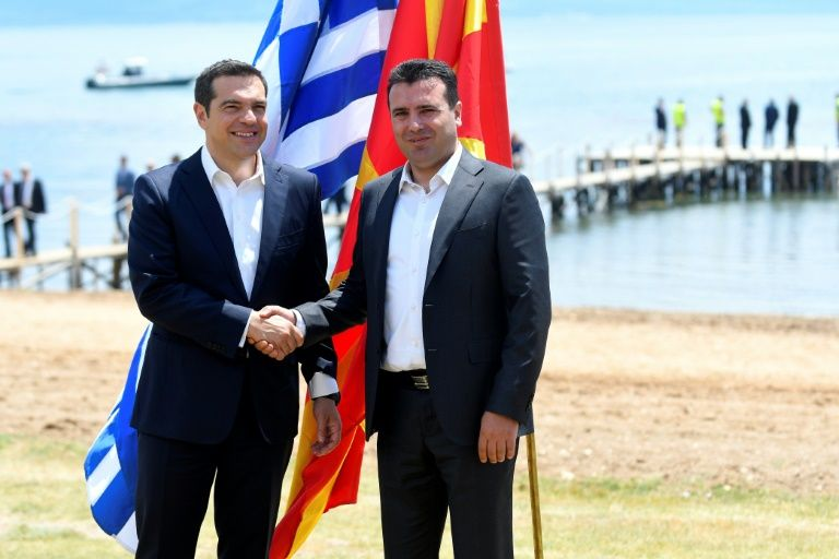 Macedonian Prime Minister Zoran Zaev, seen on the right, is now looking to his Greek counterpart Alexis Tsipras to uphold his end of the name change agreement. PHOTO: AFP