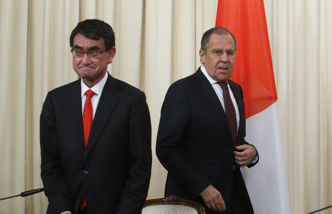 russian foreign minister sergei lavrov and his japanese counterpart taro kono attend a news conference in moscow photo reuters