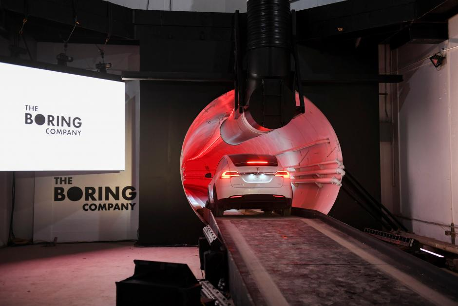 The Boring Company unveils the first test tunnel of a proposed underground transportation network across Los Angeles County during an event in Hawthorne, California, U.S. December 18, 2018.        Robyn Beck/Pool via REUTERS