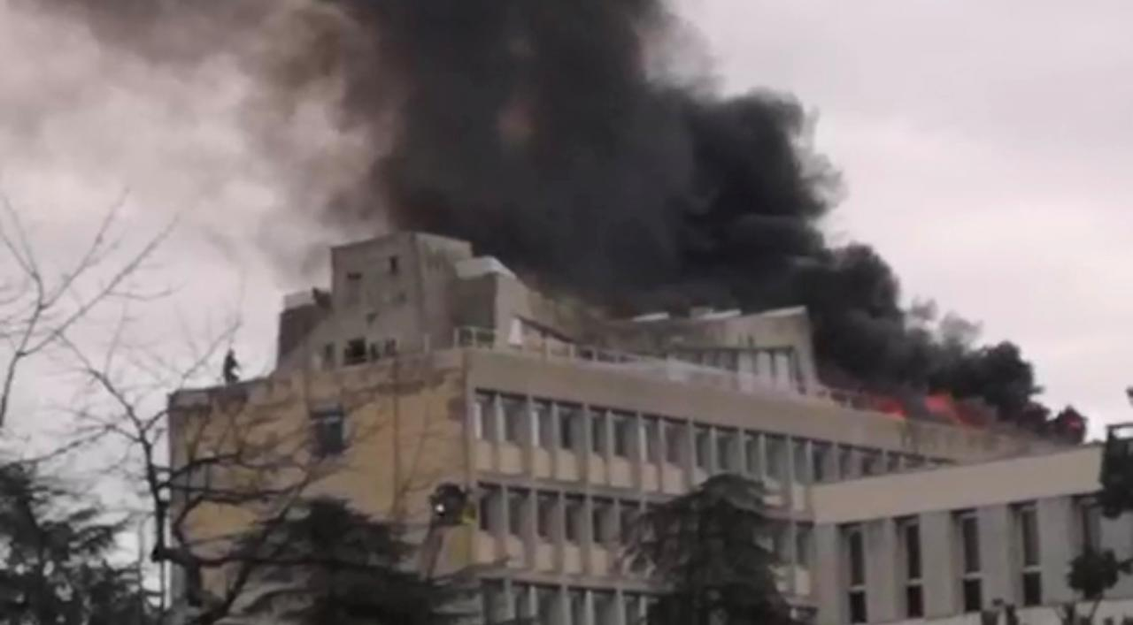 Firefighters extinguish the fire that broke out on the rooftop of Lyon university, in Lyon, France January 17, 2019, in this still image obtained from a social media video. PHOTO: REUTERS