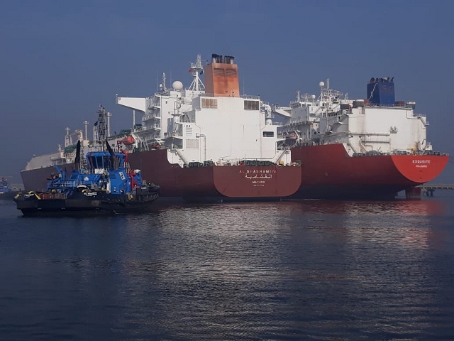 two lng ships dock at port simultaneously