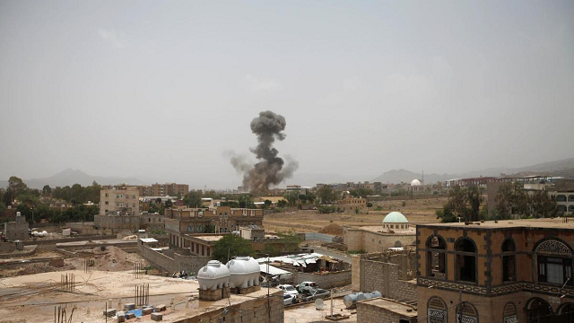 saudi led coalition launches air strikes on yemeni capital