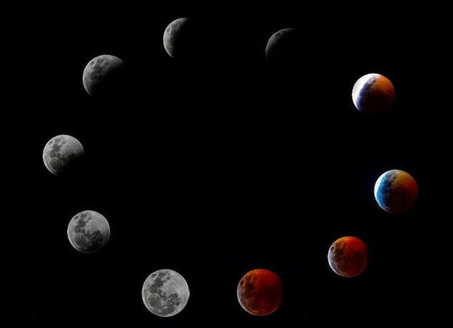 A composite photo shows all the phases of the so-called Super Blood Wolf Moon total lunar eclipse. PHOTO: AFP