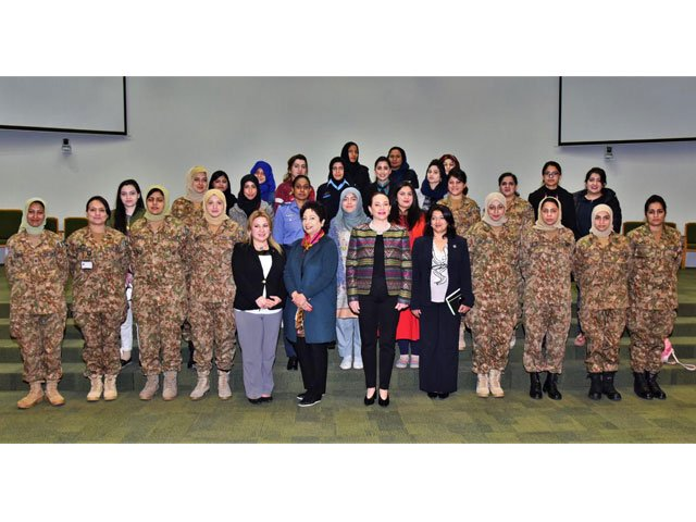 President UN General Assembly Maria Fernanda visits Centre of International Peace and Stability in Islamabad on Monday. PHOTO: ISPR