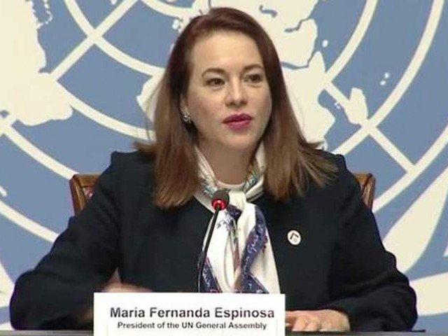 UNGA President Maria Fernanda Espinosa. PHOTO: RADIO PAKISTAN