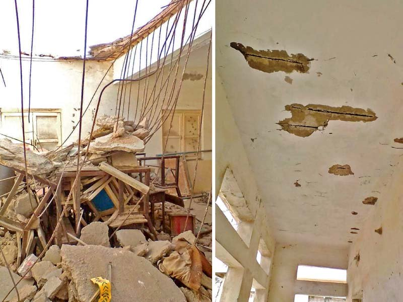 A part of the roof of a classroom caved in at the Government Boys Primary Usman Jutt School. Despite repeated requests by the school administration, the education department has turned a blind eye to the students' plight. PHOTOS: EXPRESS