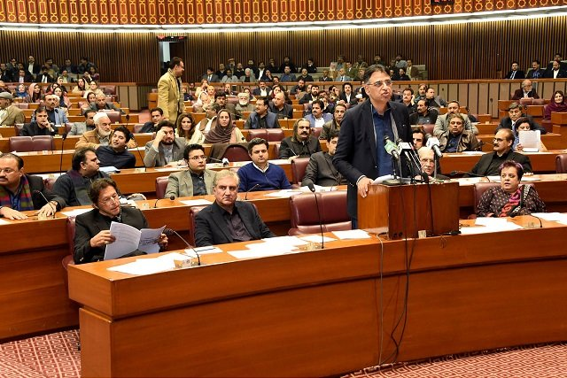 minister of finance revenue and economic affairs asad umar delivering finance supplementary bill in national assembly photo pid