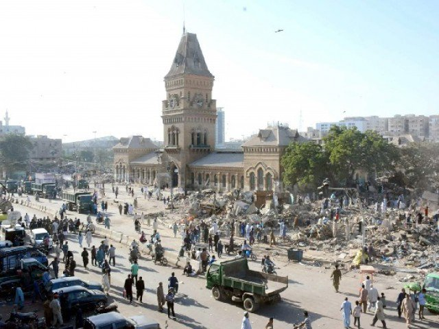 shops and other encroachments being cleared in the surroundings of empress market on november 12 photo file