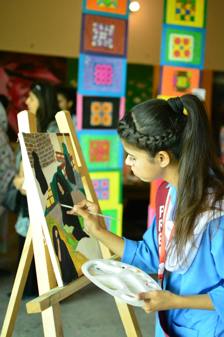 creative expression students of government school exhibited their artworks at the khatoon e pakistan government school on saturday photo express