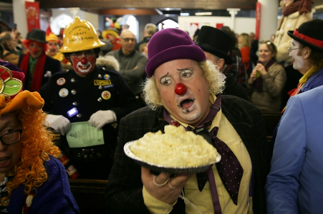 clowns tramp to east london on annual pilgrimage