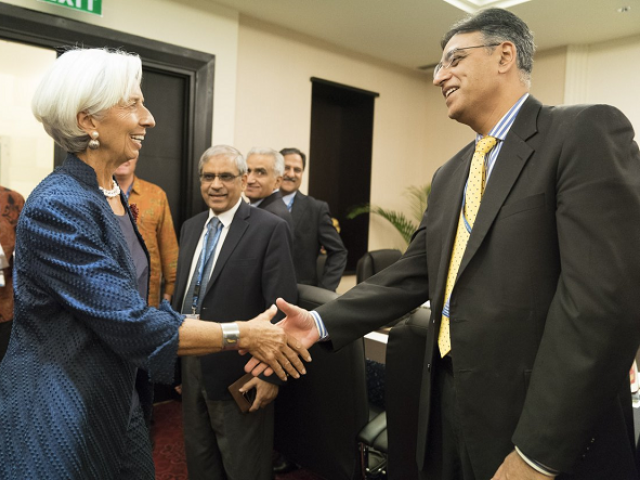 finance minister asad umar r and imf chief christine lagarde l photo courtesy twitter imfnews