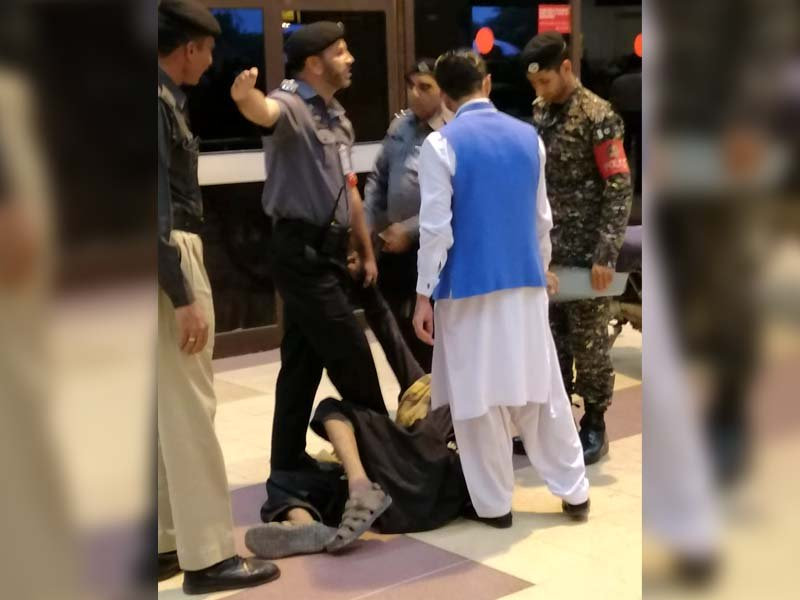 biker overpowered after breaking into karachi airport