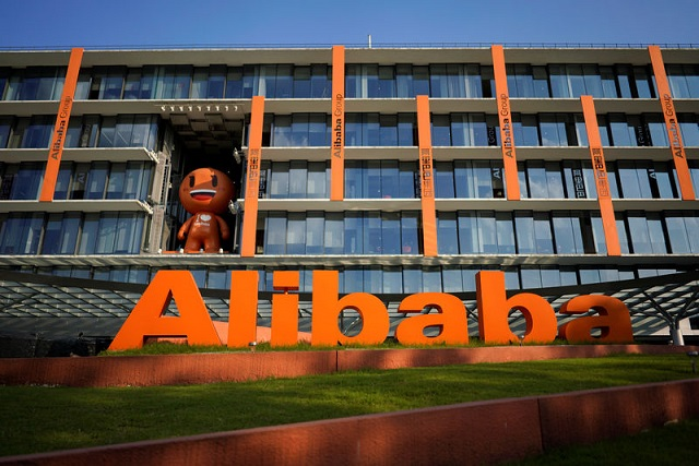 The logo of Alibaba is seen at the company's headquarters in Hangzhou, Zhejiang province, China July 20, 2018. PHOTO: REUTERS