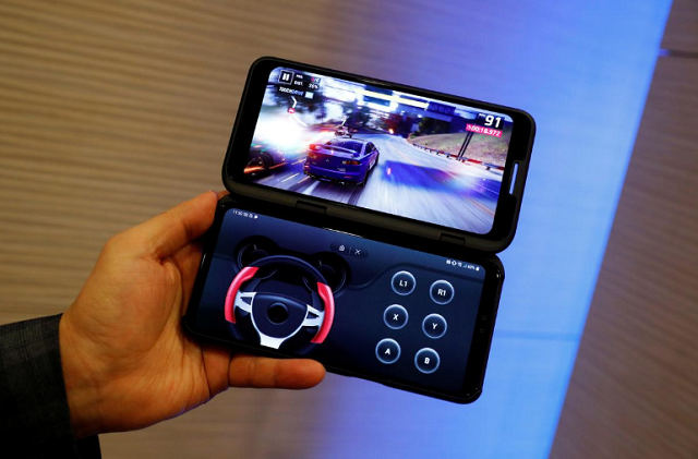 New mobile LG V50 with Dual Screen is displayed before the Mobile World Congress in Barcelona, Spain, February 23, 2019. PHOTO: REUTERS
