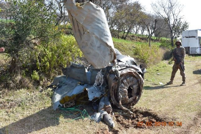 Wreckage of IAF jet shot down by PAF. -EXPRESS